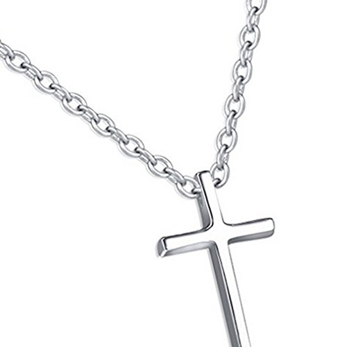 Titanium Steel Cross Pendant Necklace 18k Rose Gold/Silver Plated for Men Women Christmas Jewelry Gift (silver)