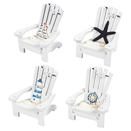 Beach Themed Christmas Ornaments Mini Adirondack Beach Chairs for Coastal, Ocean, Nautical Theme Home Bathroom Decor, Ornaments (4 inch, Set of 4) beach themed christmas ornaments