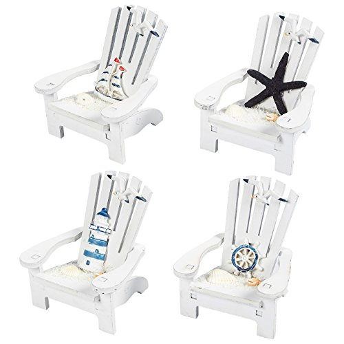 Nautical Table Decoration Ideas (Juvale Wooden Chair Ornament, 4 Piece Desk Decorations Beach Design, Ocean DecorLiving Room, Bedroom Dining Room, 4 x 3.75 x 3.75)