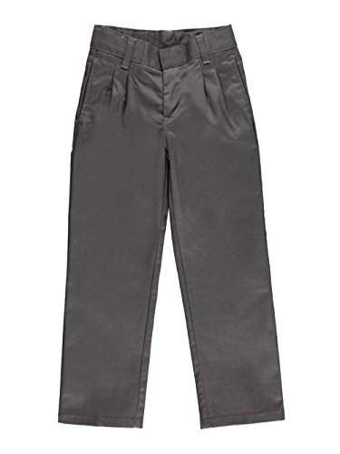 French Toast Little Boys' Pleated Wrinkle No More Double Knee Pants - Gray, 4