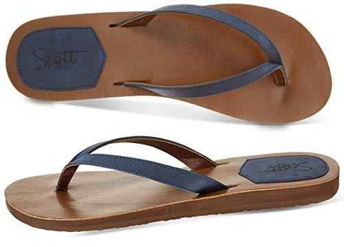 Scott Hawaii Women's Size 11 Navy Flat Sandal | Coachella-Inspired Mohala Flip-Flop | Vegan Leather Straps | Embroidered Heel Patch
