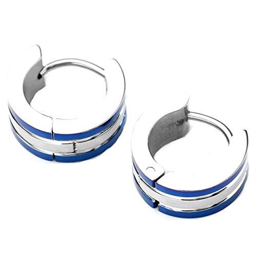 PiercingJ - 2PCS Boucles d'oreilles Anneaux a Charniere Acier Inoxydable Punk Rock Bijoux de Corps 6mm Couleur Bleu