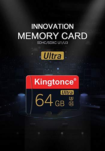 Kingtonce Ultra U3 C10 128GB MicroSDHC Memory Card with Full-Size Adapter Full HD Micro SD Card Class10 High Speed Flash TF Card (128GB)