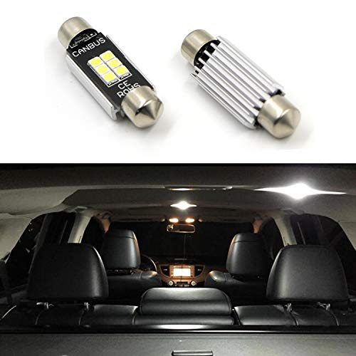 "2PCS 211-2 569 578 Dome Light Canbus 1.72"" 41MM LED Bulbs for Interior Car Lights License Plate Trunk 400 Lumens 3020 Chipset Festoon 6000K Xenon White Extremely Bright (Set Chip Ram Via)"