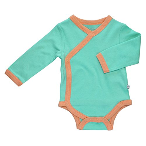 Babysoy Eco Organic Long Sleeve Kimono Bodysuit Seafoam/Canta 3-6 Months -