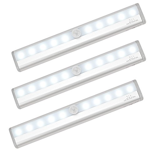 3-Pack Leadleds Battery Operated 10-LED Motion Sensing Light Bar Stick-on Anywhere Portable Closet Cabinet LED Night Light Wall Light Stairs Light Step Light Bar