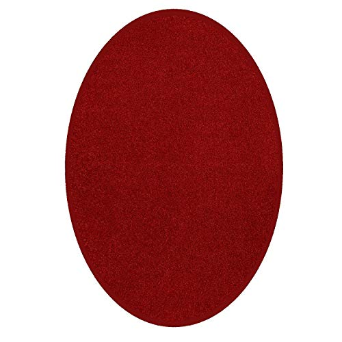 - Ambiant Pet Friendly Solid Color Area Rug Red -4'x6' Oval