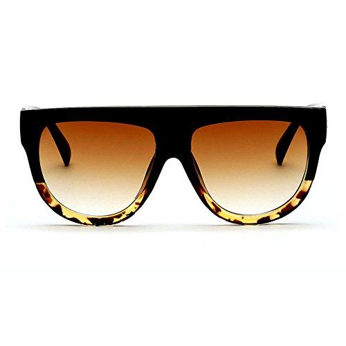 UV400 Flat Gafas Trendy de sol Retro Oversized 2 F Vintage lentes Top Outdoor para Feicuan Mujer SOBwqCw