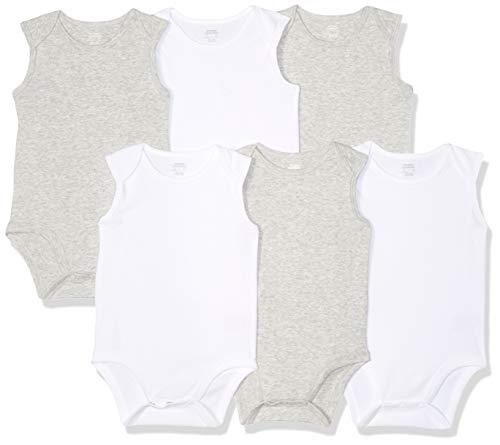 - Amazon Essentials Baby 6-Pack Sleeveless Bodysuits, Solid White & Heather Grey, 0-3M