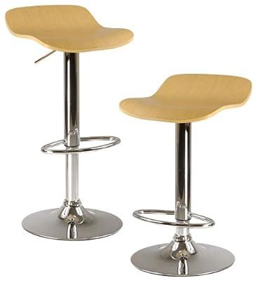 Winsome Kallie Adjustable Stools w/ Wood Top & Metal Base - Set of 2