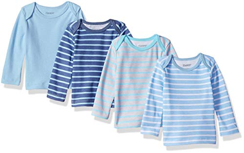 - Hanes Ultimate Baby Flexy 4 Pack Long Sleeve Crew Tees, Blue Stripe, 12-18 Months