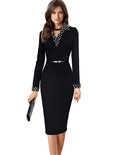 Yomeni Women's Long Sleeve Polka Dots Patchwork Bodycon Wear to Work Pencil Dress with Belt, Black, X-Large