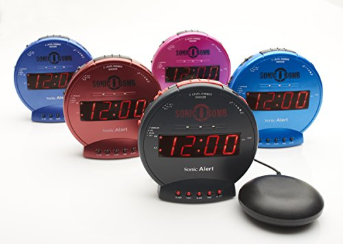Sonic Bomb Loud Dual Alarm Clock with Vibrating Bed Shaker Red - SBB500SSR
