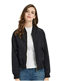 SUNDAY ROSE Women's Bomber Jacket Short Lightweight Jacket Spring Outerwear