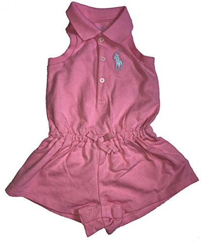 Polo Ralph Lauren Baby Girl Cotton Sleeveless Polo Romper Heritage Pink (9 Months)