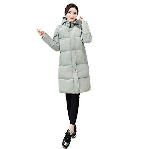 Gaorui Women's Style Hooded Long Slim Jacket Cotton Coat Parka Outwear Puffer Down Top Green
