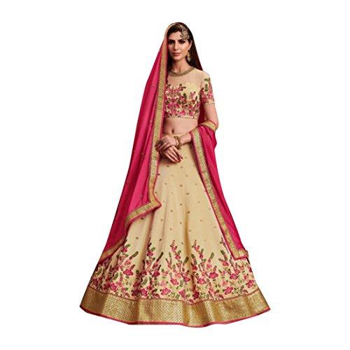 Beige Silk Wedding Stylish Blouse Work Lehenga Chaniya Choli Party Net Dupatta Muslim Women Festival 7363