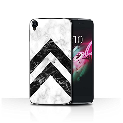 STUFF4 Phone Case/Cover for Alcatel Idol OneTouch 3 5.5 / Monochrome Chevrons Design/Geometric Marble Pattern Collection (One Touch Phone Case Chevron)