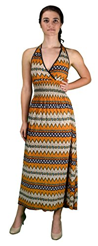 Peach Couture Bohemian Chevron Pattern V Neck Smocked Waist Halter Maxi Dress – Medium, Orange
