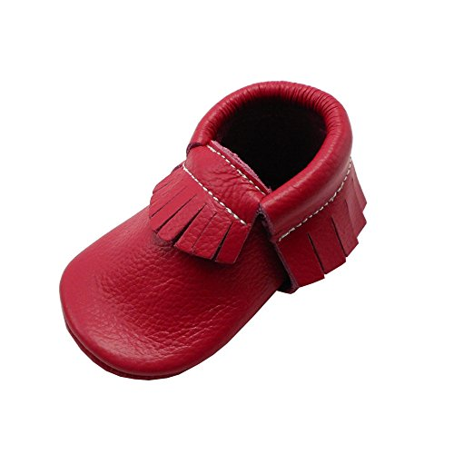 (YIHAKIDS Baby Tassel Shoes Soft Leather Sole Infant Shoes Baby Moccasins Crib Shoes Rose Pink(Size 3,Newborns/4.1in))