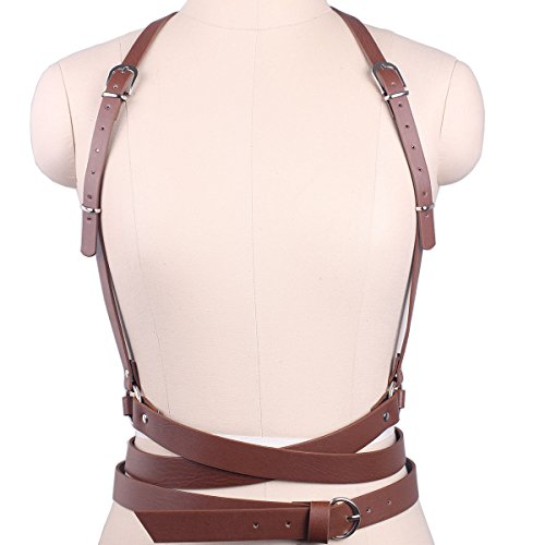 Harness Brown Leather (Wyenliz Women's Waist Belts Punk Harajuku Faux Leather Harness Straps Adjustable)