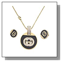 Think Positive Stainless Steel Fashion Jewelry Sets For Women with Rhinestone Gold Plating
