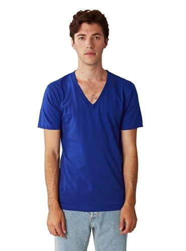 - American Apparel  Unisex Fine Jersey Short Sleeve V-Neck, Lapis, Large