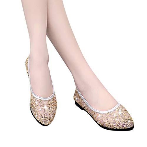 scarpe Con Bassi In Ginli Estivi Cristallo Casual Piatte Oro Donna Da Sandali Scarpe Alla Basse Punta Sandali Rotonda Moda 4w1qO5