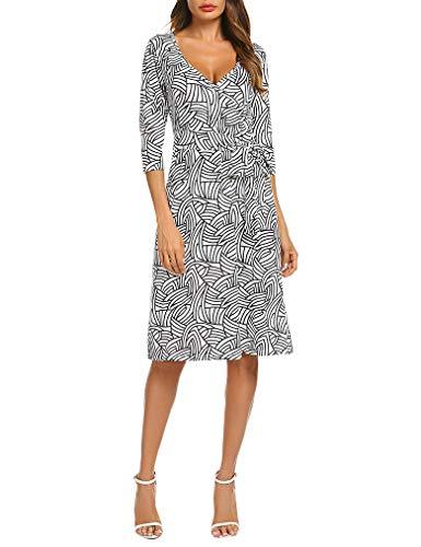 Geometric Print Wrap V-Neck Dress for Women Knee Length Work XX-Large Black Stripe Plus Size