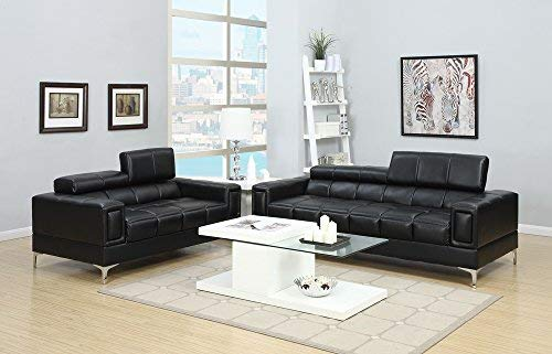 Benzara BM167238 Bonded Leather Sofa and Loveseat with Foldable Headrests, Black