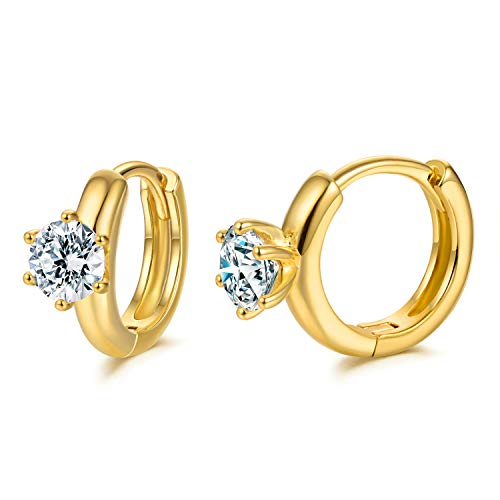 CZ Hoop Earrings with Cushion Cut Cubic Zirconia 24K Gold Plated 6 claw Ear Cuff Huggie Earrings Wonderful Gift Choice for Girls Women and Men (Yellow-6claw)