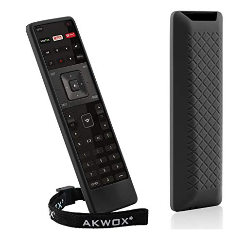 [2 Pack] Silicone Case for Vizio XRT122 Smart TV Remote, AKWOX [Shock Proof] Protective Cover Case for VIZIO Smart LCD LED TV Vizio XRT122 Remote with Lanyard (Black) ()
