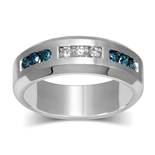 Diamond Jewel Sterling Silver 1/2 ct White and Blue Diamond Mens Ring - Natural Diamond Mens Ring