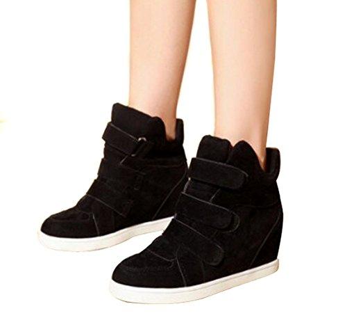 f25fc64b51 ... Padgene Baskets Mode Compensées Scratch Suede Nylon Sneakers Hautes  Chaussures de ville Leopard Femme Noir