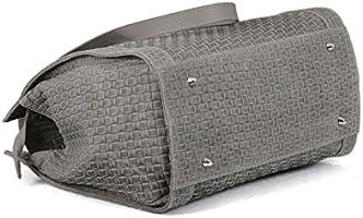 095ff7f83bc0d Made in Italy Schultertasche Damentasche Bag Ledertasche Vintage Geflochten  Grau