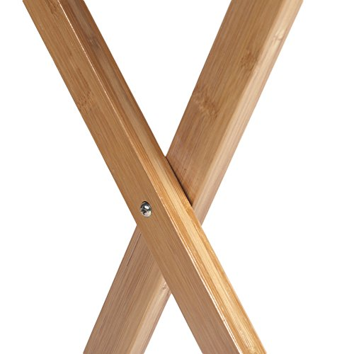 Azadx Bamboo Folding Table, Free Standing Snack Tea Portable Dinning Table Wood Color by Azadx (Image #5)