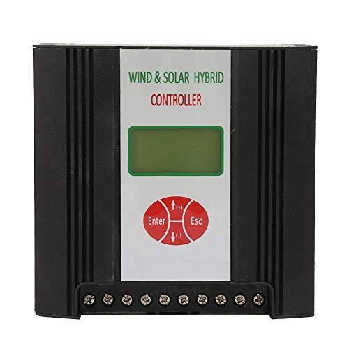 Wind Solar Hybrid Charge Controller, 24V Solarladeregler Windladeregler Hybridladeregler Solarpanel Regler mit LCD Display (Wind: 400W/600W Solar: 300W)(Wind 600W + Solar 300W)