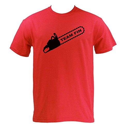 UGP Campus Apparel Team Fin Mens T-Shirt - X-Large - Red (Sharknado Fin)