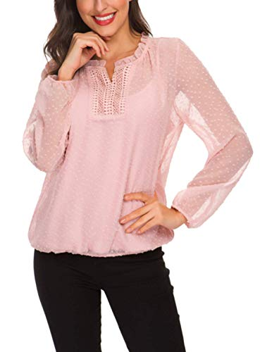 (Womens's Elegant Long Sleeve Ruffles V Neck Lace Splicing Chiffon Casual Blouse Office Work Shirt Tops Pink)