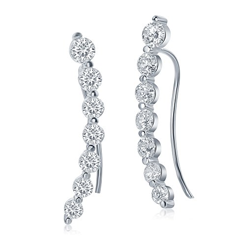 925 Sterling Silver Curved Climber Ladies Long Ear Pins Earrings, 7 Round White Cubic Zirconia Stones, - Stone Age Earrings