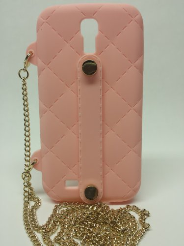"CELLFIE - Samsung Galaxy s4 CrossBody Phone Case Purse with 48"" Gold Chain and Rear Grip Strap (Soft Pink)"