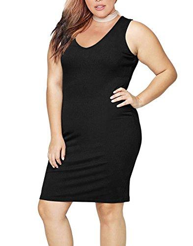HDE Womens Plus Size Tank Top Dress Bodycon Casual Basic Sleeveless V Neck Tunic (Black, 3X)