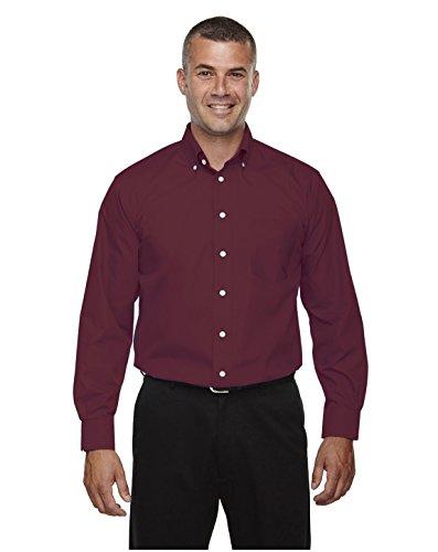 Devon & Jones D620 Mens Crown Collection Solid Broadcloth - Burgundy - 2XL Devon And Jones Cotton Dress Shirt