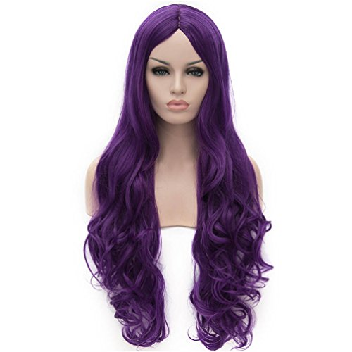 Purple Long Wig (Flovex Women Long Wavy Cosplay Wigs Ladies Sexy Natural Costume Club Party Daily Hair with Wig Cap (Purple))