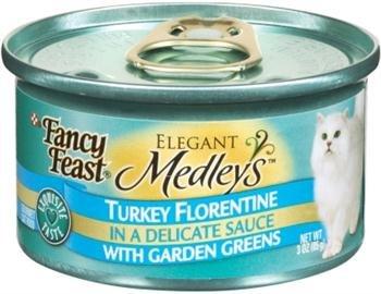 Fancy Feast Elegant Medley`s Turkey Florentine w/ Garden Greens Canned Cat Food 24 - 3oz ()