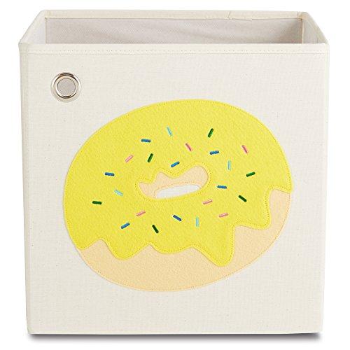 (kaikai & ash Toy Storage Bins, Canvas Cube Organizer, Kids 13 inch Box - Sprinkled Yellow Donut)