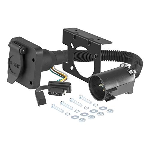CURT 55664 Dual-Output Vehicle-Side Trailer Wiring Harness Connectors for Select USCAR Vehicles, 6-Pin Trailer Wiring, 4-Pin Trailer Wiring