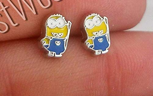 Minions earrings-Small tiny minimalist Stainless steel minions stud earrings- for women her