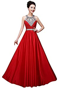 Manfei Women's Prom Dress 2018 Beaded Long Formal Evening Gown