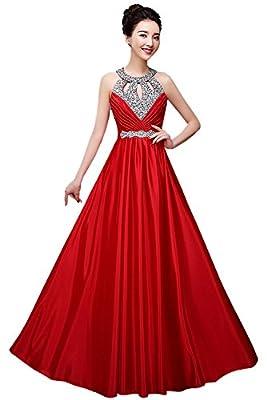 Manfei Women's Prom Dress 2017 Beaded Long Formal Evening Gown